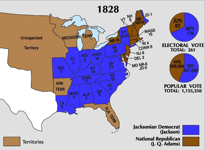 Map showing 1828 Presidential Election including states and electoral and popular vote tallies for Jackson and J.Q. Adams