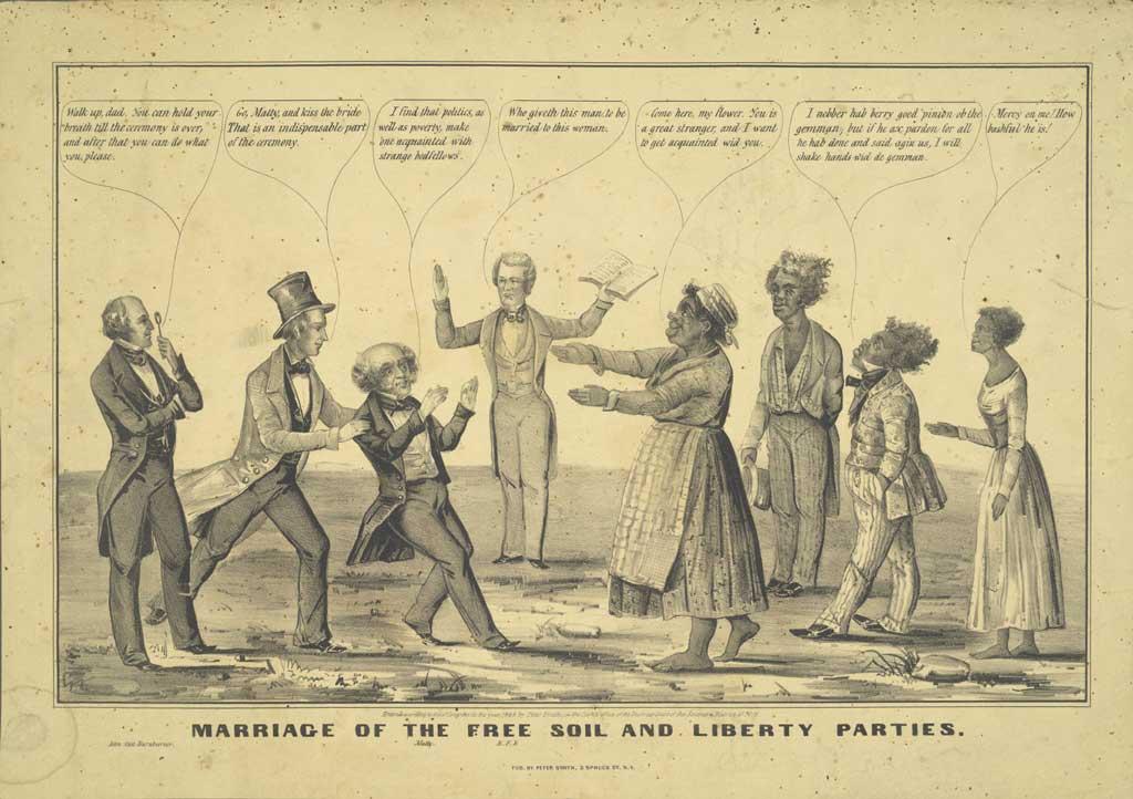 1848 political caricature showing Martin van Buren (left of center) symbolically marrying a black woman. The figure on the far left is presumably Van Buren's son, John Van Buren, while the presiding clergyman in the center ('BFB') is probably Benjamin F. Butler.