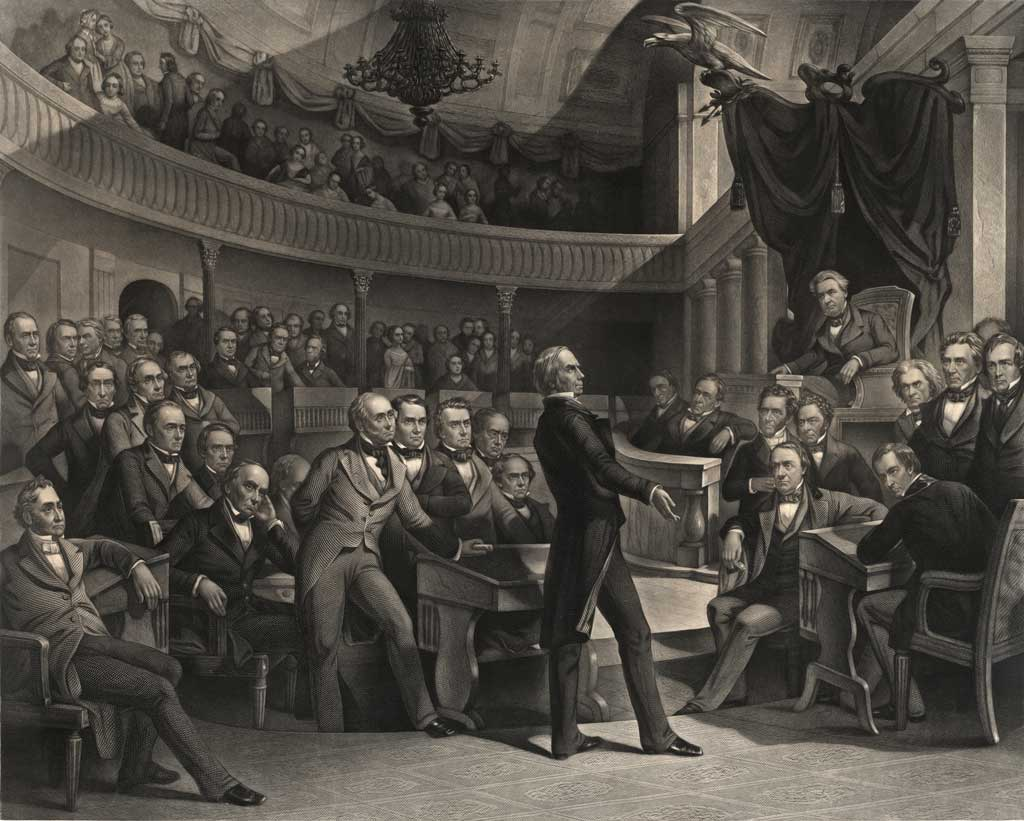 This image shows three men, with Henry Clay at center stage, presenting his compromise to the Senate in the Old Senate Chamber. Daniel Webster is seated to the left of Clay and John C. Calhoun to the left of the chair of the presiding officer, Vice President Millard Fillmore.
