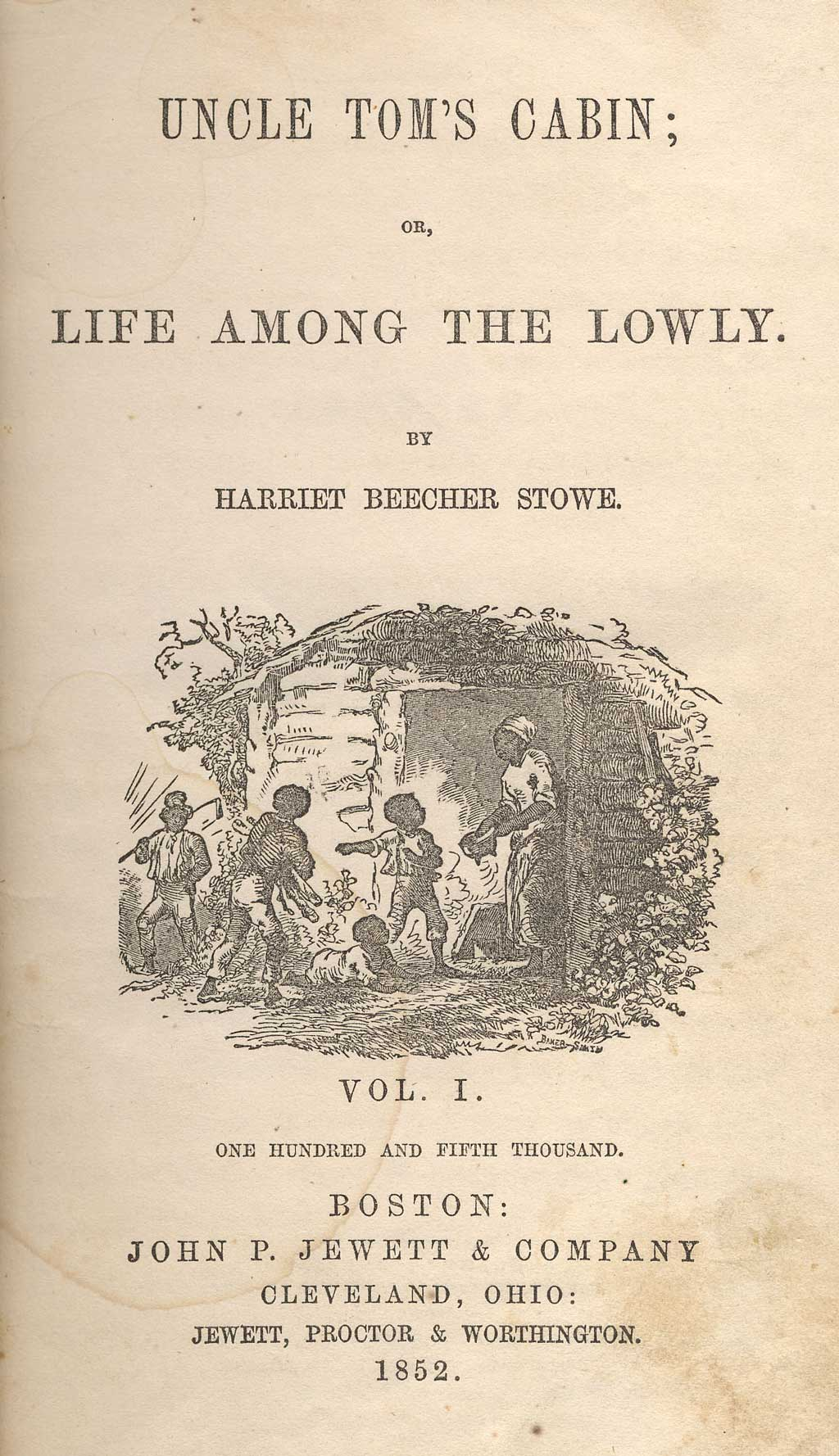 Cover of the book Uncle Tom's Cabin. Shows characters of Chloe, Mose, Pete, Baby, Tom.