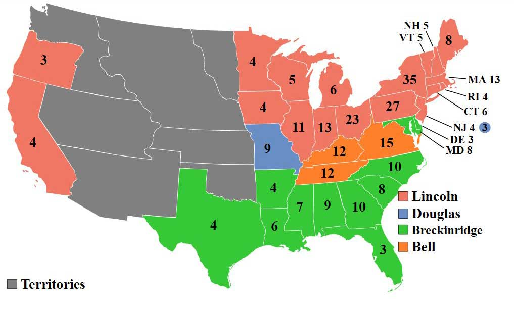 US map of votes cast in the 1860 Electoral College. Shows states and tallies for Lincoln, Douglas, Breckinridge, and Bell