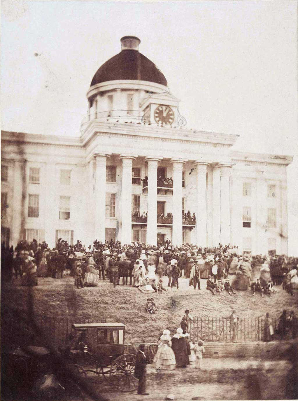Crowd gathered in front of Alabama Capitol building for first inauguration of Jefferson Davis as President of the Confederate States of America at Montgomery, Alabama, February 18, 1861
