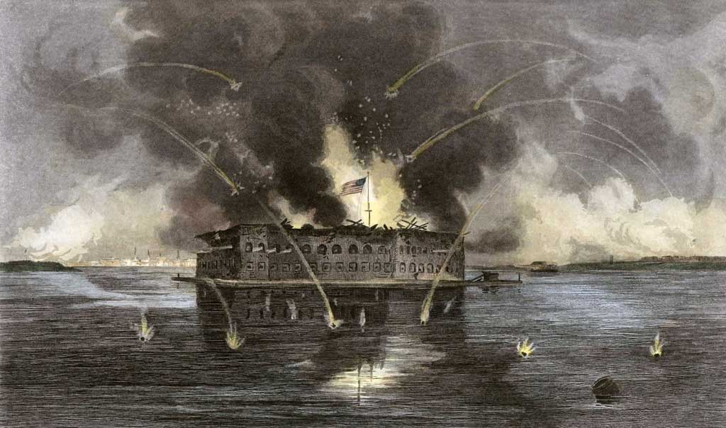 Painting of the bombardment of Fort Sumter, showing cannonballs flying toward the fort, and fire and smoke billowing out