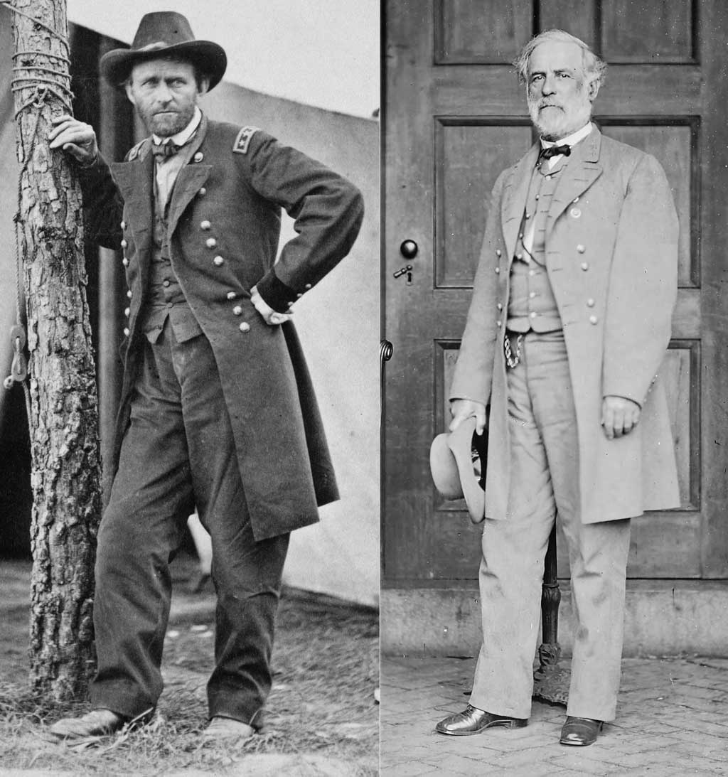 Photo montage of General Ulysses S. Grant and General Robert E. Lee