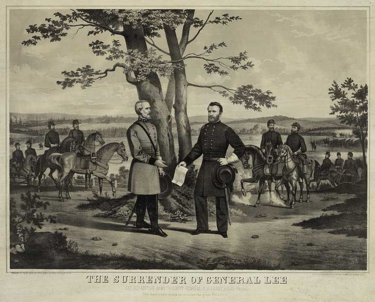 Artist's rendering of the surrender of Confederate General Robert E. Lee to Union General Ulysses S. Grant with soldiers on horses behind both generals. Text underneath reads 'The Surrender of General Lee.'
