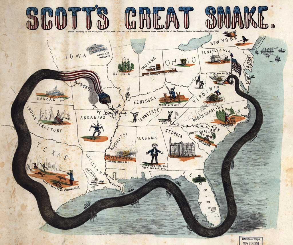 Cartoon map of the US, showing large snake wrapped around the southern states. Its tail is wrapped around flagpole at Washington D.C., with U.S. flag and liberty cap and he head of the snake is in Missouri, driving 'Jackson & Co.' into Arkansas