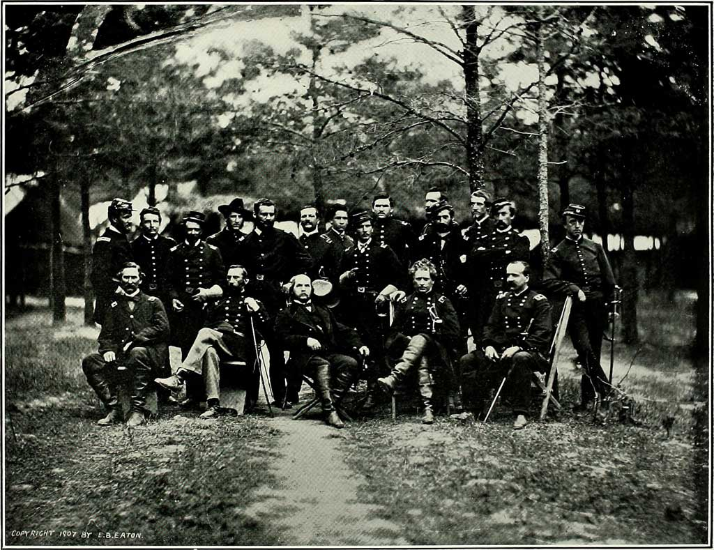 Photograph of Major-General Joseph Hooker and his staff taken shortly after the battle at Chancellorsville.