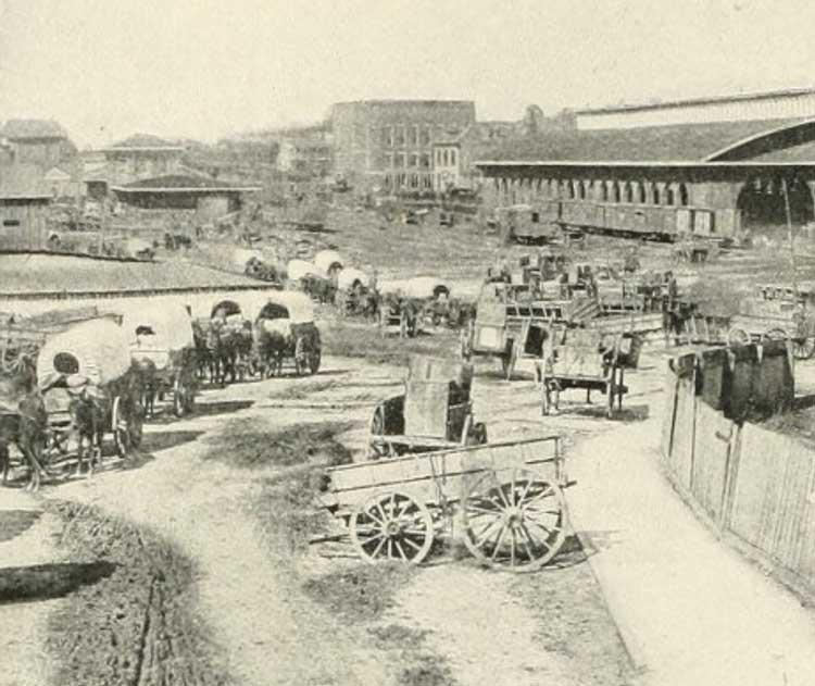 Lines of wagons and abandoned wagons at the Atlanta Train Depot