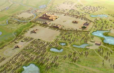 Artist's conception of the Mississippian culture Cahokia Mounds Site in Illinois. The illustration shows the large Monks Mound at the center of the site with the Grand Plaza to its south. This central precinct is encircled by a palisade. Three other plazas surround Monks Mound to the west, north and east. To the west of the western plaza is the Woodhenge circle of cedar posts.