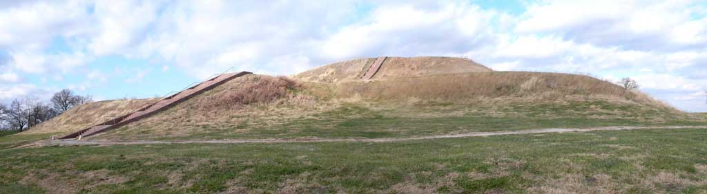 Photograph of Monk's Mound, a Pre-Columbian earthwork, located at the Cahokia site near Collinsville, Illinois.