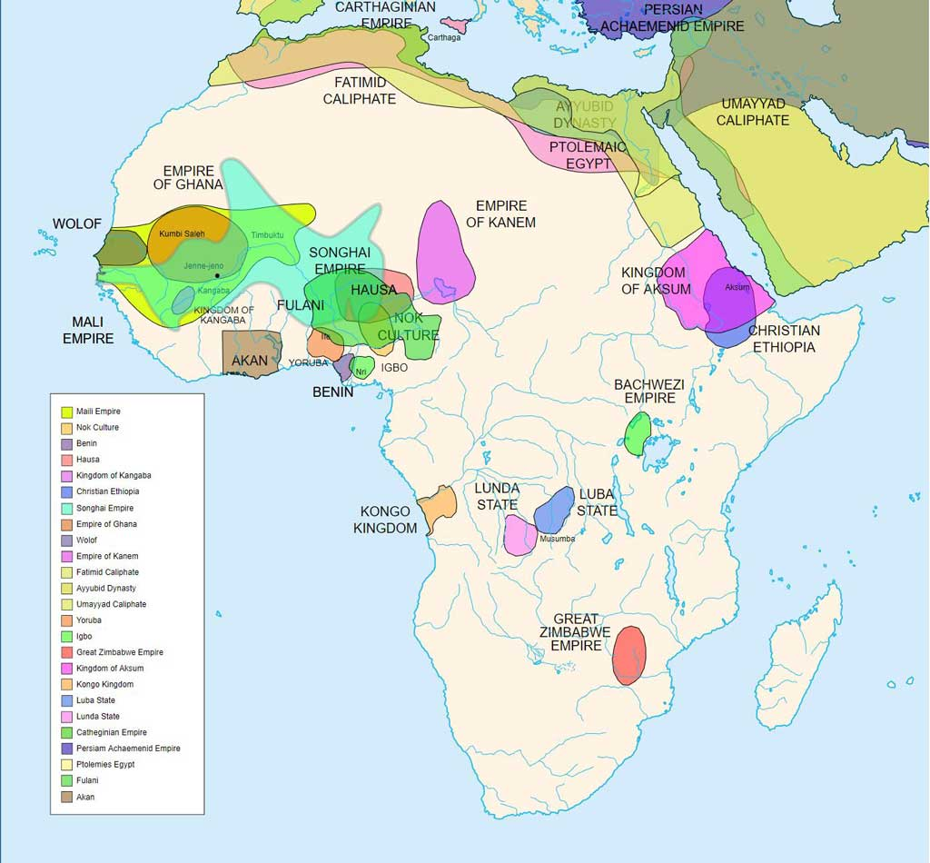 Diachronic map showing pre-colonial cultures of Africa (spanning roughly 500 BCE to 1500 CE). This map is 'an artistic interpretation' using multiple and disparate sources. Shows Africa and the Middle East.