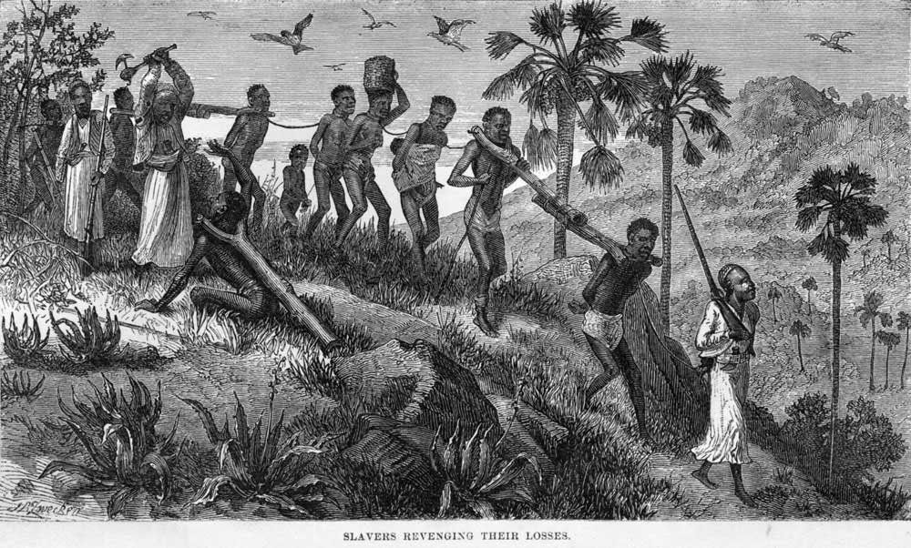 Slavers Revenging their Losses, shows a coffle of men, women, and children, led by Arab slavers; one of the guards is murdering a captive unable to keep up with the rest.