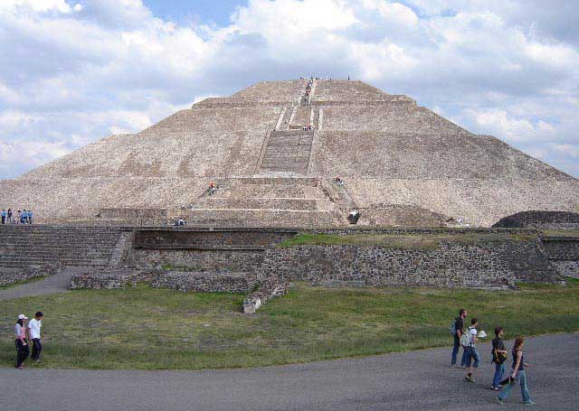 Photograph of the ruins of the Teotihuacan Pyramid of the Sun.