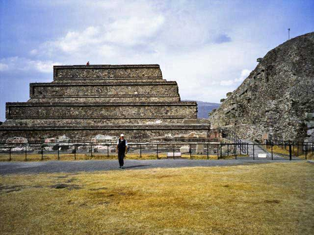 Photograph of the ruins of the Temple of the Feathered Serpent (Quetzalcoatl), Teotihuacán