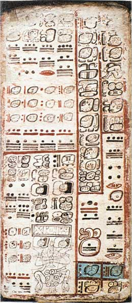 Page from a Dresden Codex book, showing drawings called glyphs