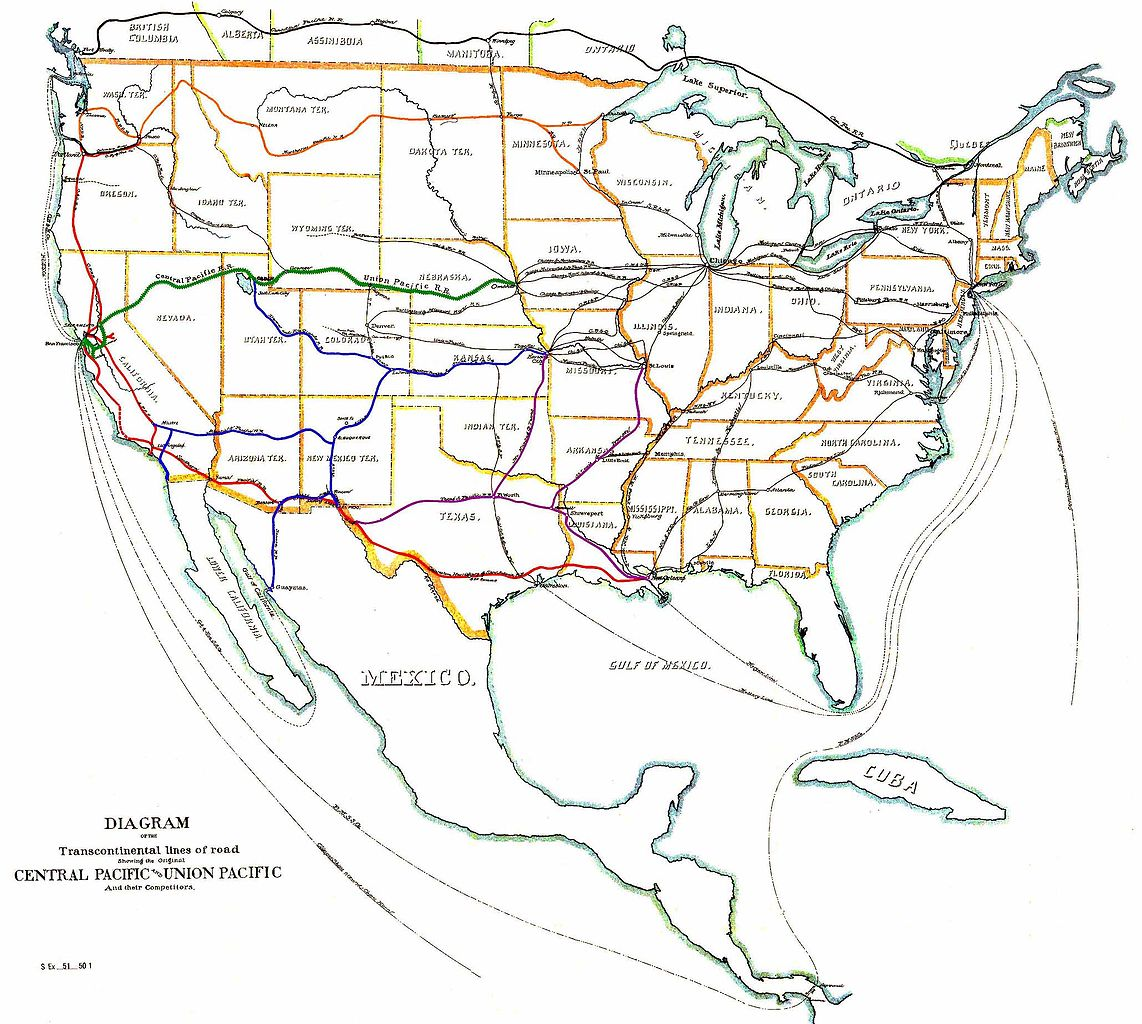 Digital restoration of an 1887 map. The map displays various railroad routes across the continental US, including the large Union Pacific and Central Pacific lines that run from Omaha, Nebraska west to San Francisco, California
