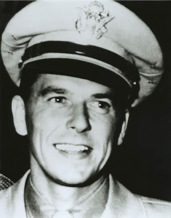 A younger Ronald Regan in military dress uniform.