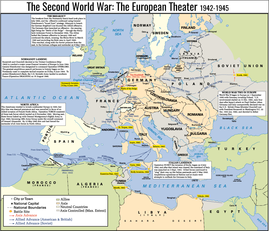 Map highlighting major events of the second world war and their locations in Europe. Image text is as follows: a) World War II in Europe: World War II began in Europe on 1 September 1939 with Germany invading Poland. U.S. involvement started on 11 Dec. 1941, only four days after Japan's attack on Pearl Harbor, when Germany and Italy unexpectedly declared war on the U.S. British Prime Minister Churchill met with President Roosevelt I Washington, D.C. 22 Dec. 1941 - Jan 1942, and decided to defeat Germany first. b) North Africa The Americans wanted to invade continental Europe in 1943, but the idea was deemed premature and was cancelled in favor of an Allied invasion of French North Africa. Operation TORCH consisted of three task forces which landed on 8 November 1942. Moving east, these forces linked up with General Montgomery's Eighth Army in April 1943, becoming 18th Army Group under the overall command of General Alexander. By 12 May 1943 this unit had forced the surrender of all Axis forces in North Africa. c) Normandy Landing: Roosevelt and Churchill decided at the Trident Conference (May 1943) to conduct a major cross-Channel invasion of Europe in June 1944. General Eisenhower's flank, the U.S. Seventh Army landed in southern France (Operation DRAGOON) on 15 August 1944. d)Italian Landings: Operation HUSKY, the invasion of Sicily, began on 9 July q1943, and after that island was cleared, the mainland of Italy was assaulted on 3 September 1943. Allied forces continued to slog their way up the Italian peninsula until 2 May 1945. Amphibious operations at Salerno and at Anzio were attempts to outflank the German in Italy. e) The Breakout: The breakout from the Normandy beach head took place in July 1944, and the offensive continued using General Eisenhower's broad front strategy. Attempts to broach the German Siegfried Line blunted the Allied offensive. The Germans then launched an offensive - the ensuing fight being the Battle of the Bulge -through the thinly held