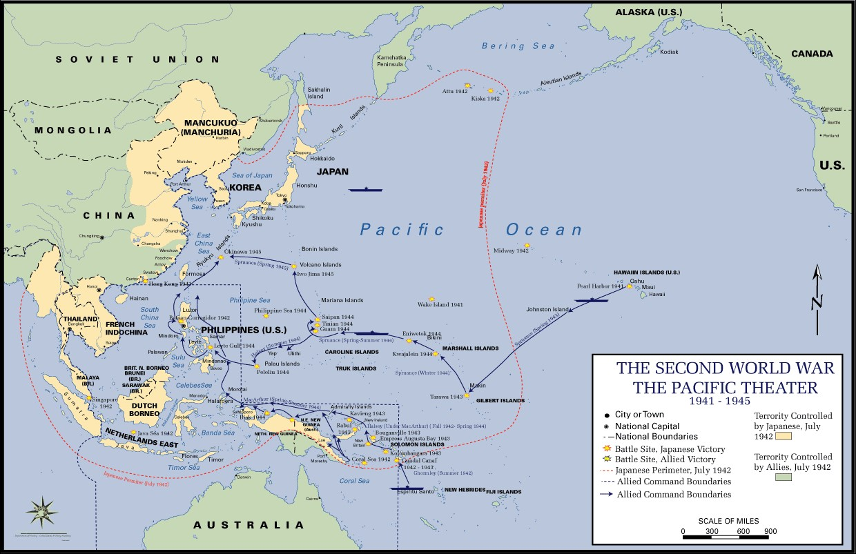 First phase: From 7 December 1941, until June 1942, the Japanese successfully attacked the Pacific Fleet's base at Pearl Harbor, took Wake Island and Guam, invaded and conquered the Philippines, Hong Kong, Malaya, and seized the British base of Singapore. They conquered Burma thereby cutting off China from all overland routes to the western allies, and seized the Netherlands East Indies and British Borneo, thereby securing a much-needed source of oil. The Japanese advance came to a halt with the American victories at the Battle of Coral Sea (May 1942) and the Battle of Midway (June 1942). Second Phase: The second phase in the Pacific War was one of relative stalemate. From June 1942 until late-1943, neither side could muster the land, sea or air power required to take the offensive and seize the initiative from the other. The Battle of Guadalcanal was an example of this stalemate. Third phase: The third phase, from mid-1943 until September 1945, can be characterized as the period of the Allied offensives. Two drives were under American control; general Douglas McArthur's Southwest Pacific Campaign and Admiral Chester Nimitz's Central Pacific Campaign. MacArthur's drive was characterized by a series of Army amphibious operations up the Solomon Island chain and along the northern coast of New Guinea, with the Philippine Islands as the ultimate objective. Nimitz's strategy was designed to move directly toward Japan and to draw the Imperial Japanese navy into a decisive fleet engagement as happened at the Battles of the Philippine Sea (June 1944) and Leyte Gulf (October 1944). MacArthur's and Nimitz's campaigns merged into one for the invasion of the Philippines. Afterwards, the Central pacific campaign continued with the invasions of Iwo Jima and Okinawa. During the latter stages if the war the Army Air Force, operating out of the Mariana Islands and flying the B-29 Superfortress, had begun to fire bomb the cities of Japan. These raids culminated with the dropping of t