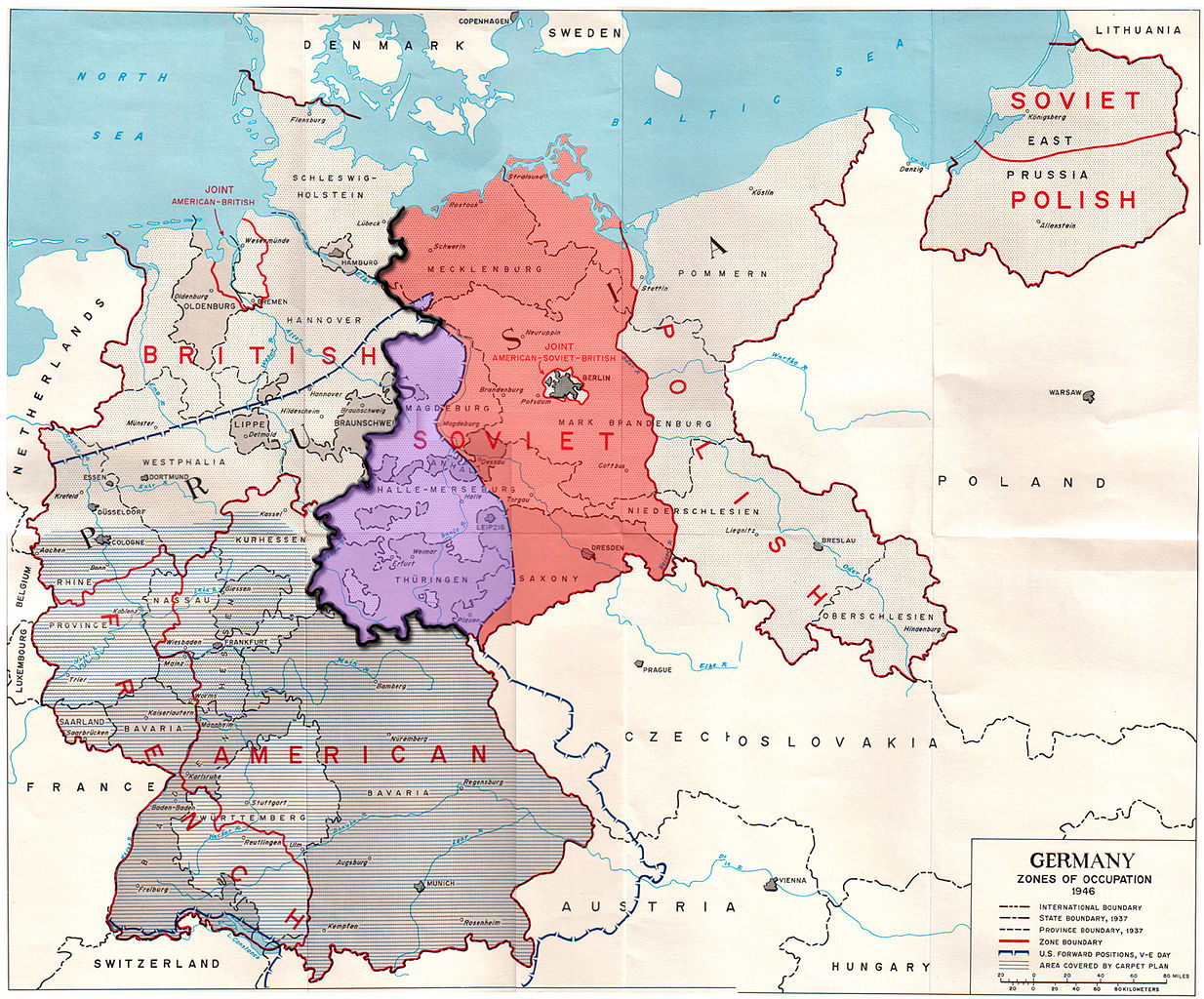 Map of post-war Germany occupation including territories occupied by British, French, and American troops on the western front and the Polish occupied territory on the eastern front. Soviet held territory is in the middle.