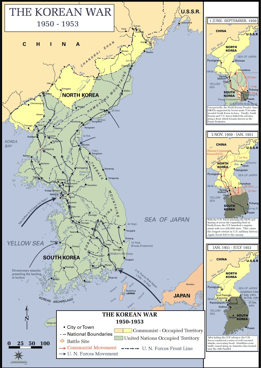 1 June-September 1950: Unexpectedly, the North Korean People's Army (NKPA) supported by Soviet made T-34 tanks invaded South Korea in force. Finally, South Korean and U.S. forces halted the advance along a front which became known as the Pusan Perimeter. 3 Nov 1950 - Jan 1951: With the U.N. forces pursuing the NLPA and fanning out across the expanding front in North Korea, the CCF launched a surprise attack with over 200,000 men. This caused the longest retreat in U.S. military history. Again, Seoul fell to the enemy. Jan. 1951 - July 1953: After halting the CCF advance, the U.N. forces conducted a series of well-executed attacks, recovering Seoul. Hostilities eventually ceased alon the Armistice line located near the 38th parallel.