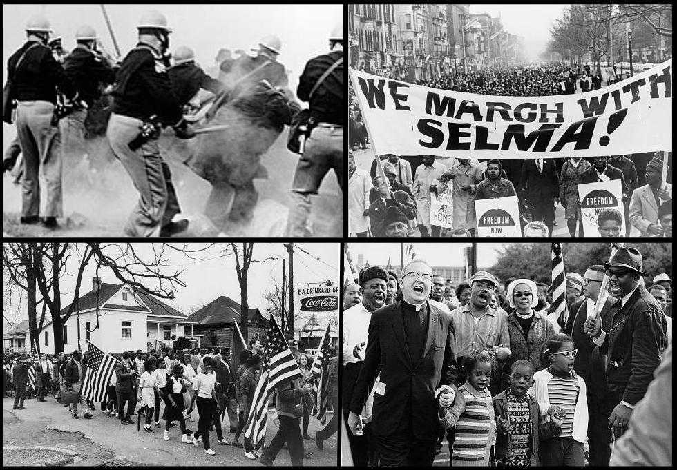 Four images combined into one photograph. Top left: Back view of policemen with helmets, clubs and tear gas canisters push forward into hazy chaos. Top right: A large crowd of people stretching back about 2 block sin New York City. Bottom left: Many marches (mostly black, but some white) march calmly on a side street. Bottom right: Large group of people behind Dr. King and his wife. In front of them, a white pastor holds the hand of one of the Abernathy children. All appear to be singing or chanting.
