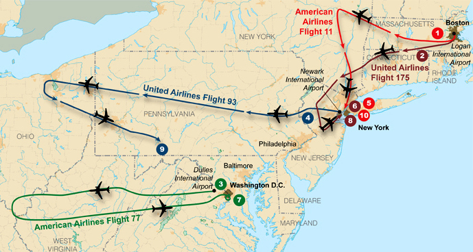 Map of eastern US from Massachusetts to Virginia showing the flights paths of four planes. Each plane departs, flies westward, and then turns around toward its target in either New York city or Washington, DC. One flight path stops mid-way into its return.