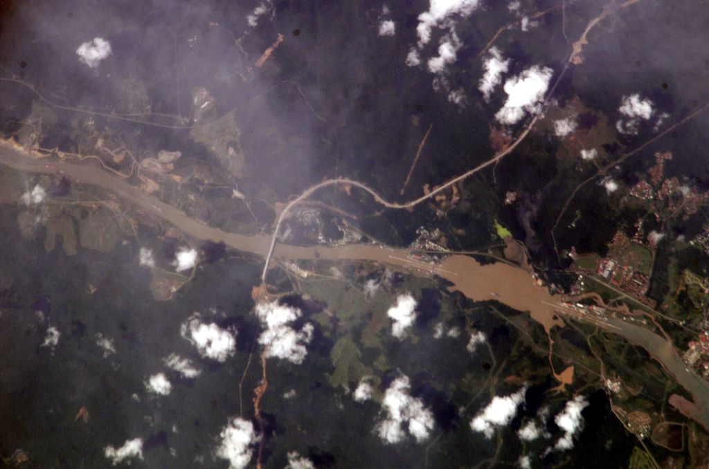 Arial photo of the Panama Canal as described above.
