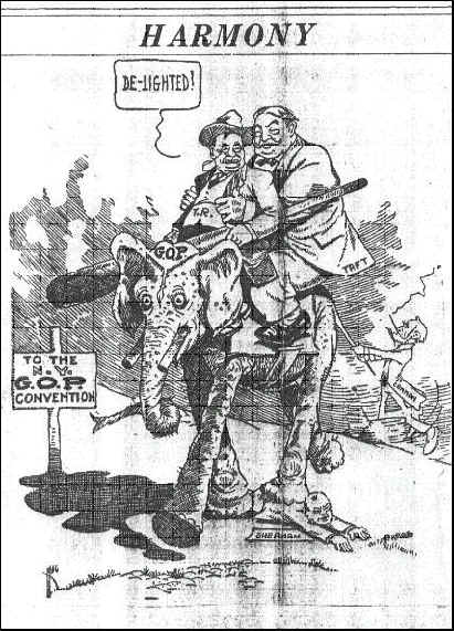A pen and ink drawing of two very large men holding a large stick atop an elephant. The man in front, President Roosevelt in saying 'De-lighted.' A sign reads: 'To the NY GOP Convention.'