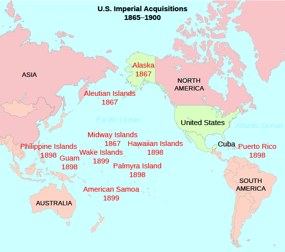 Map of Pacific Ocean and the land masses surrounding it (Asia, Australia, North and South America). American imperial acquisitions are shown along with the year of acquisition. From north to south they read: Alaska,1867; Aleutian Islands, 1867; Midway Islands, 1867; Philippine Islands, 1898; Guam, 1898; Midway Islands, 1867; Wake Islands, 1899; Hawaiian Islands, 1898; Palmyra Islands, 1898; Puerto Rico, 1898; and American Samoa, 1899.