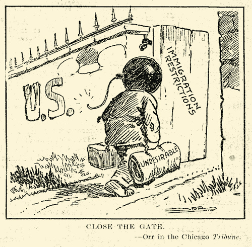A cartoon showing an immigrant man with a lit bomb as a head walking across the U.S. border through an open gate labeled, 'Immigration restrictions.' The man carries baggage labeled as 'Undesirable.'