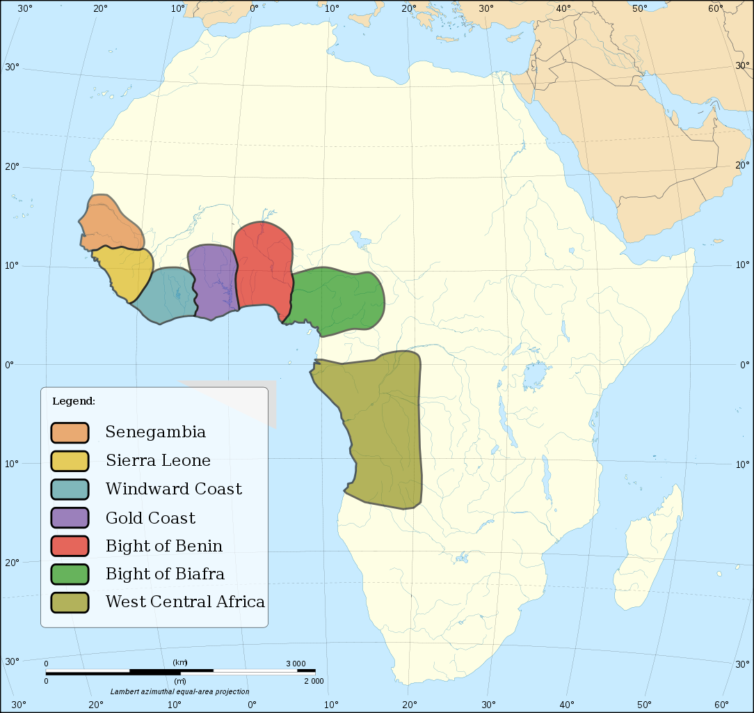 Map of the continent of Africa depicting slave regions in the west and west central coasts. Legend text: Senegambia; Sierra Leone; Windward Coast; Gold Coast; Bight of Benin; Bight of Biafra; West Central Africa.