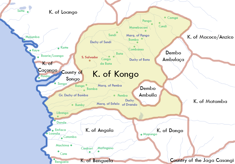 Map showing where the Kingdom of Kongo was located in West Central Africa in 1711.