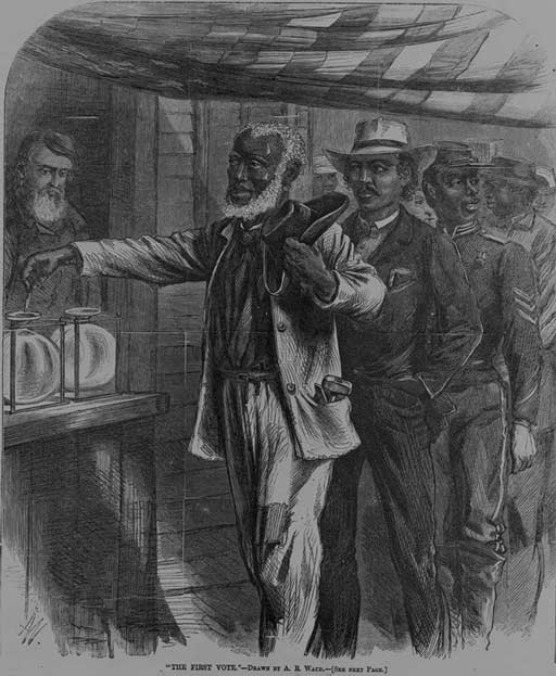 African American men, in dress indicative of their professions waiting in line to vote. The first man - an elderly gentleman with tools in his pocket and hat in hand in line is dropping a vote into a container while a bearded white man looks on.