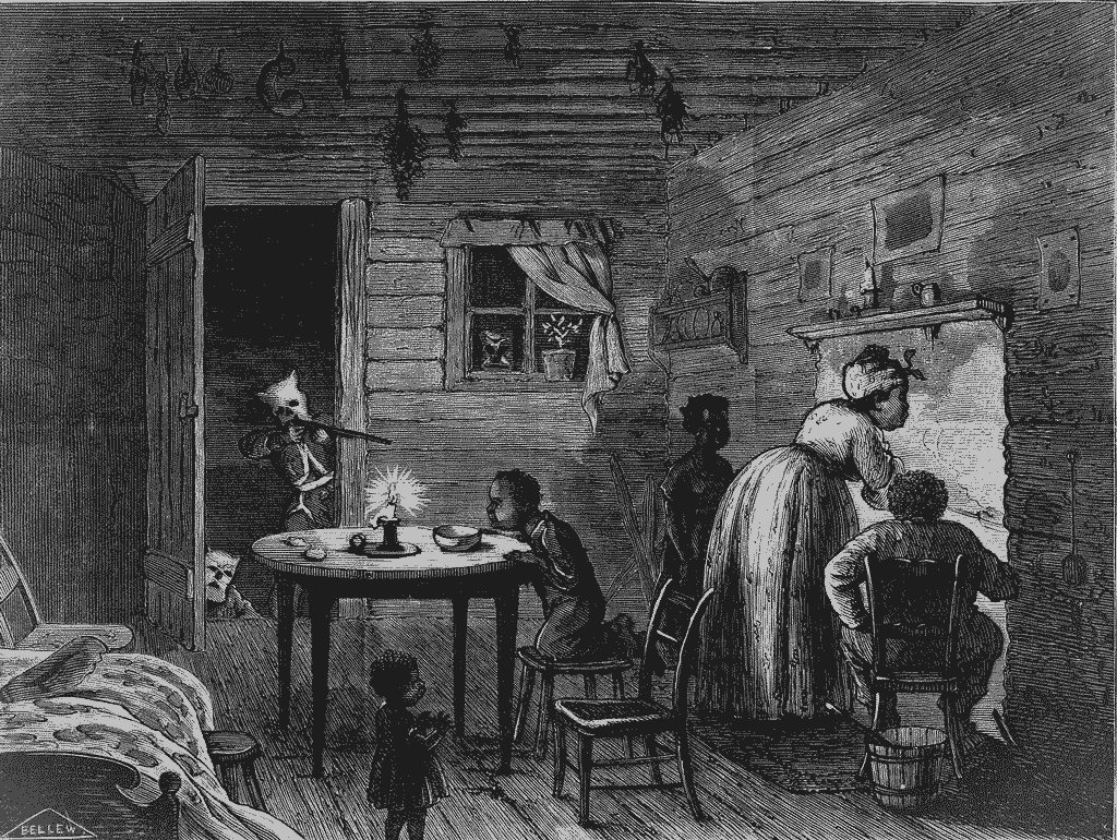 Engraving showing African American family in a humble home. Woman is cooking at the fireplace, man seated alongside, and three children. A masked man from Ku Klux Klan is aiming a rifle in doorway; two more masked figures also peek in.
