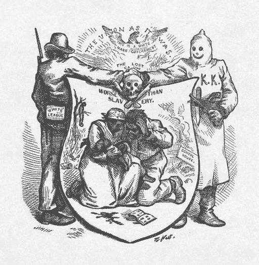 Two members of white supremacist groups during Reconstruction – the White League and the Ku Klux Klan – shaking hands beneath a shield with a skull and cross bones. A black family cowers on their knees and a schoolbook on the ground.