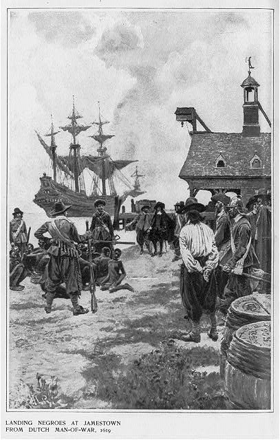 Scene at colonial Jamestown shoreline. A large three-masted ship is in the background while a smaller boat floats at the shoreline. The boat is surrounded by three Dutch soldiers holding guns and several thin, barely-clothed Africans kneeling in the surf. Men in colonial dress look on. it appears as though the Africans are being traded for the large barrels in the foreground.