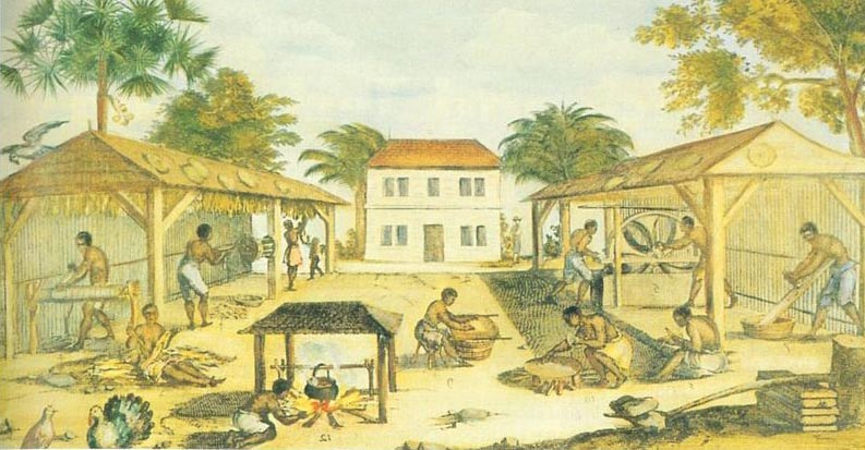 Twelve African slaves (10 men, 1 woman and a child) work in and around two thatched shelters that sit on either side of a stone house. One man tends a cooking fire while the others tend to the various chores related to drying and curing tobacco.
