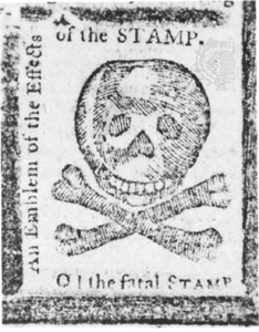 The image shows a skull and cross bones and contains the words: 'An Emblem of the Effects of the STAMP. O! the fatal STAMP.'