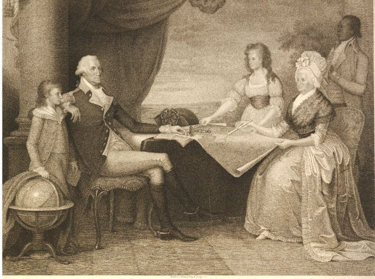 George Washington is seated at a table with a map on the left side of the image. His young son stands next to him. His wife and daughter are on the opposite side of the table. One black male slave stands at attention behind Mrs. Washington.
