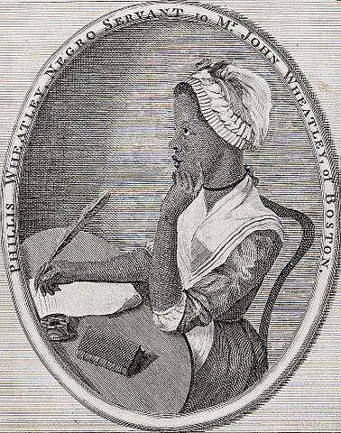Oval image with young African American woman in the center. She sits at a desk with a quill on paper in one hand and the other hand in a thoughtful gesture by her cheek. She is looking slightly upward apparently thinking. Text around the oval reads: 'Phyllis Wheatley, Negro servant to Mr. John Wheatley of Boston.'