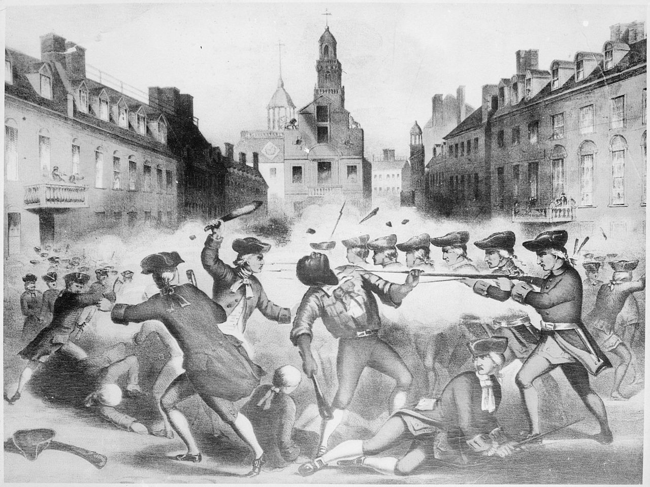 Scene of a fight between colonists with clubs on the left and British soldiers with long guns and bayonets on the right. A black man (Attucks) falls backward while griping a British soldier's long gun at the center of the image.