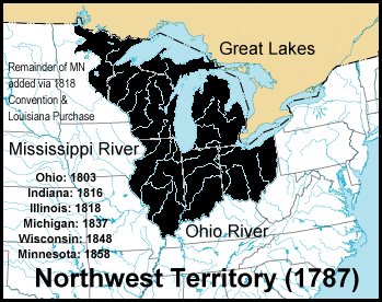Map of Great lakes region and surrounding states. The states of Ohio, Indiana, Illinois, Michigan, Wisconsin, and parts of Minnesota are darkened. These areas are labeled as 'Northwest territory (1787)'.