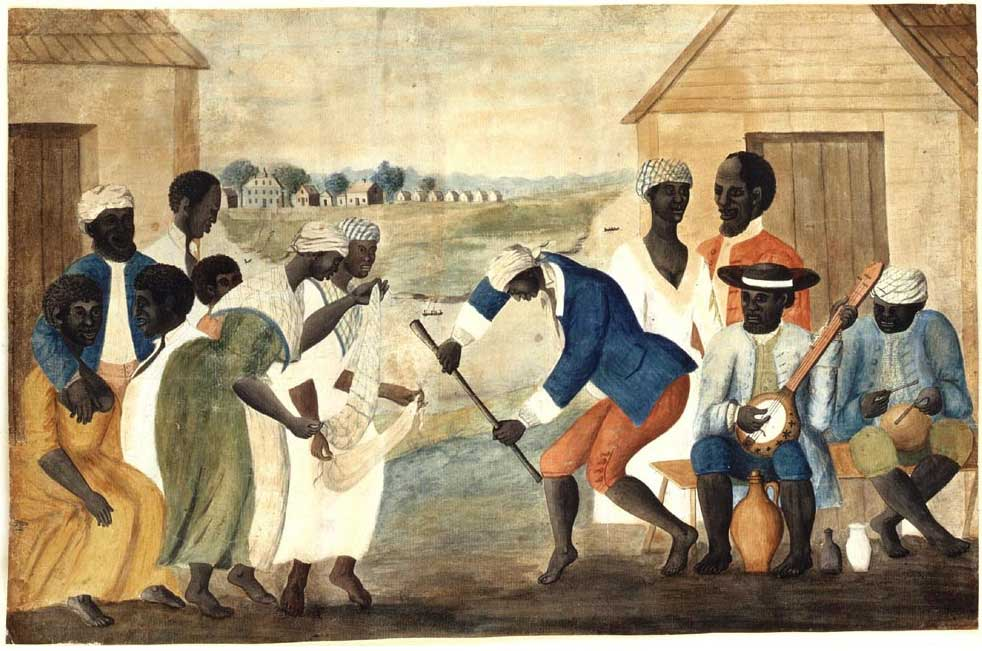 A group of male and female slaves celebrating, dancing, and singing on a South Carolina plantation. A male slave playing a banjo and another male playing a small drum.