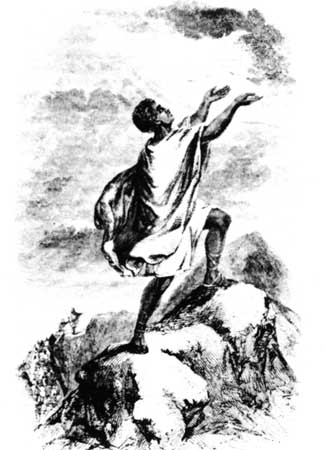 a black man wearing a cotton robe and standing on a mountain top and raising his arms and hands to the sky as if calling on God.