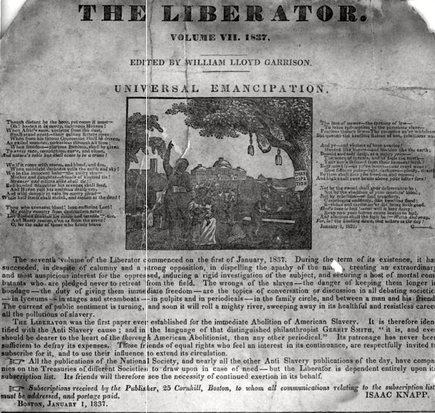 The cover of an issue of The Liberator with a subheading that reads 'Universal Emancipation' and an image below that depicts a slave family on a plantation.