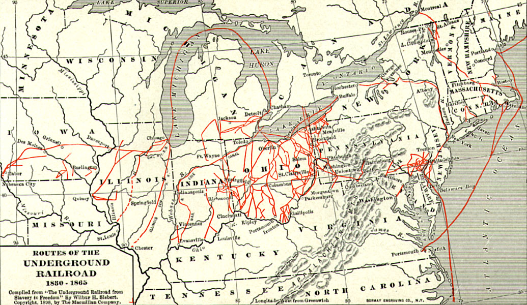 Map of northern U.S. (1830 - 1865) from the eastern seaboard - Maine to North Carolina) west to Minnesota, Iowa, and Missouri. Lines, concentrated mainly in Ohio, Indiana, Illinois, and in eastern Pennsylvania depict routes of the Underground Railroad.