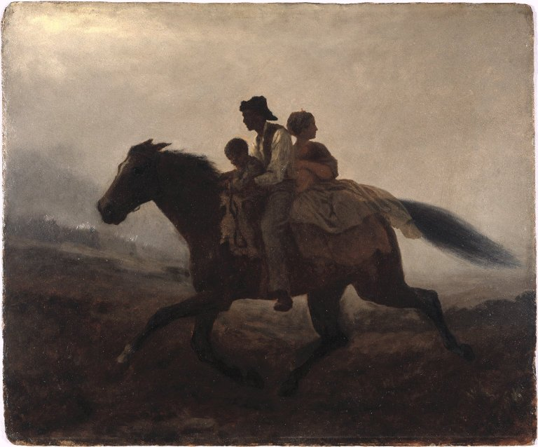 Three slaves — a man, woman, and child — escaping to freedom on a horse in low light. The woman, seated last on the horse, looks worriedly behind her.