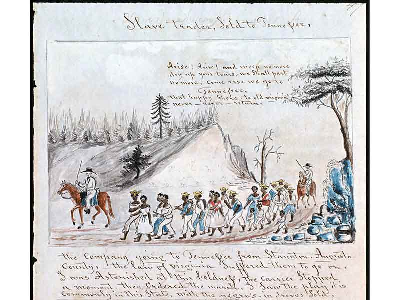 Two white men on horseback, one in the front and one in the back of a group of about 20 African American men, women and children. They all march around the curve of a small hill.