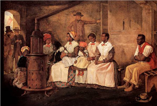 One African American man, five women and three children sit on wooden benches by a stove. One of the children is asleep in her mother's lap. Three white men stand at the door in hushed conversation. Another man stands in the middle background holding a door open with one hand and the other hand on his hip.